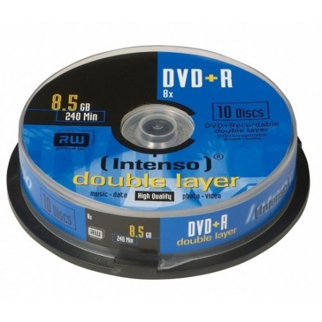 Intenso DVD+R 8.5GB, DL, 8x 8.5GB DVD+R 10pieza(s)
