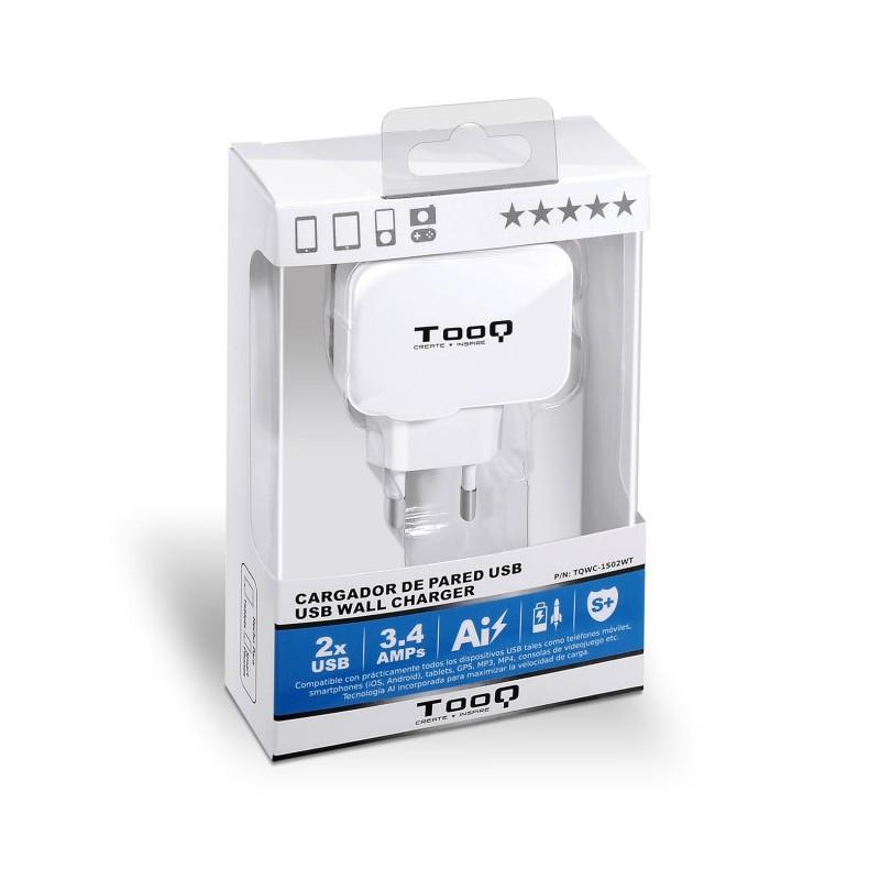 CARGADOR PARED USB TOOQ TQWC-11S02WT 2xUSB 3.4 BLANCO