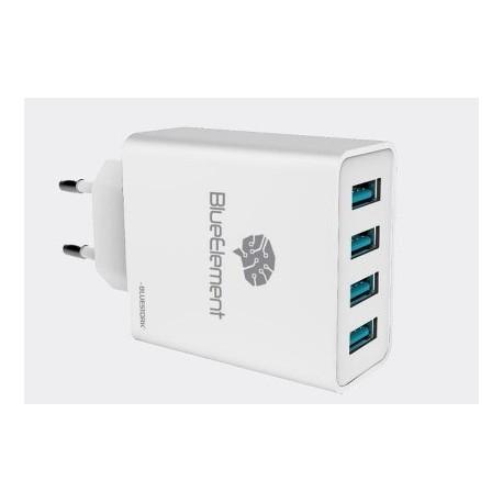 CARGADOR BLUESTORK UNIVERSAL SIN CABLE 4 PUERTOS USB 5A BLANCO