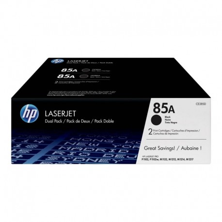 TONER HP CE285AD Nº85A NEGRO 1600 PAGINAS 2 UNIDADES PARA LASERJET P1102 / P1102W