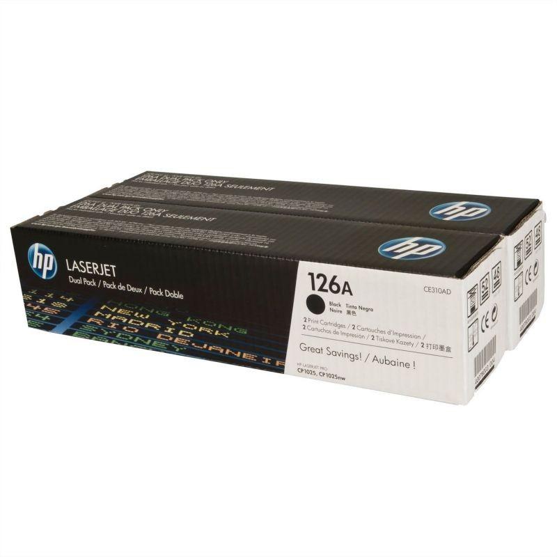 TONER NEGRO HP Nº126A 2UNIDADESX1200PAGINAS PARA LASERJET SERIE CP1025