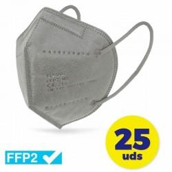 CAJA DE MASCARILLAS FFP2 CLUB NÁUTICO 25 UNIDADES - COLOR GRIS - ENVASADAS DE FORMA INDIVIDUAL - 5 CAPAS PROTECCIÓN