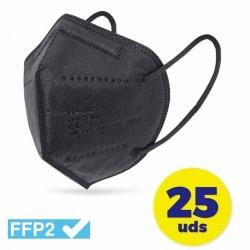 CAJA DE MASCARILLAS FFP2 CLUB NÁUTICO 25 UNIDADES - COLOR NEGRO - ENVASADAS DE FORMA INDIVIDUAL - 5 CAPAS PROTECCIÓN