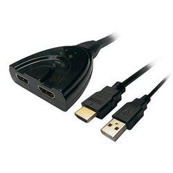 Duplicador HDMI Aisens A123-0128/ 2x HDMI Hembra - HDMI Macho - USB Macho