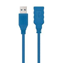 Cable Alargador USB 3.0 Nanocable 10.01.0901/ USB Macho - USB Hembra/ 1m/ Azul