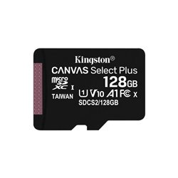 Tarjeta de Memoria Kingston CANVAS Select Plus 128GB microSD XC/ Clase 10/ 100MBs