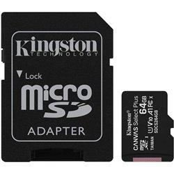 Tarjeta de Memoria Kingston CANVAS Select Plus 64GB microSD XC con Adaptador/ Clase 10/ 100MBs