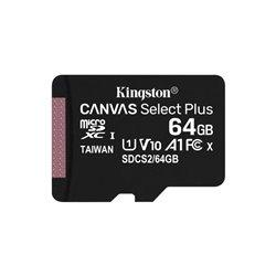 Tarjeta de Memoria Kingston CANVAS Select Plus 64GB microSD XC/ Clase 10/ 100MBs