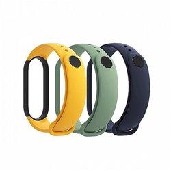Pack de Correas para Xiaomi Mi Smart Band 5 Strap/ 3 unidades/ Azul/ Amarillo/ Verde Claro